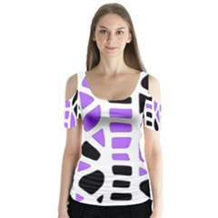Purple abstract decor Butterfly Sleeve Cutout Tee