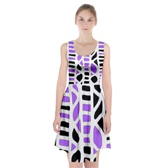 Purple Abstract Decor Racerback Midi Dress