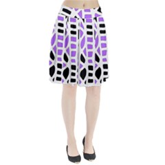 Purple Abstract Decor Pleated Skirt