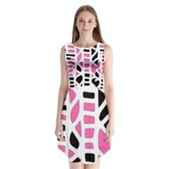 Pink Decor Sleeveless Chiffon Dress