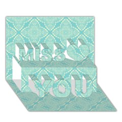 Light Blue Lattice Pattern Miss You 3D Greeting Card (7x5)