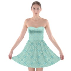 Light Blue Lattice Pattern Strapless Dresses