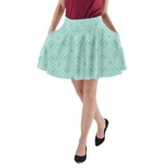 Light Blue Lattice Pattern A Line Pocket Skirt