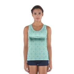 Light Blue Lattice Pattern Women s Sport Tank Top