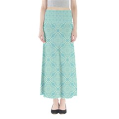 Light Blue Lattice Pattern Maxi Skirts