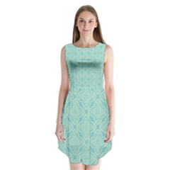 Light Blue Lattice Pattern Sleeveless Chiffon Dress