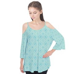 Light Blue Lattice Pattern Flutter Tees