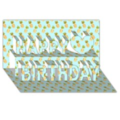 Tropical Watercolour Pineapple Pattern Happy Birthday 3d Greeting Card (8x4)
