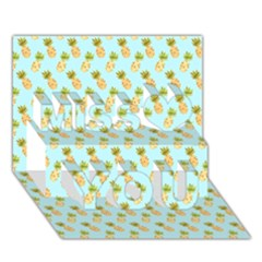 Tropical Watercolour Pineapple Pattern Miss You 3d Greeting Card (7x5)