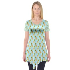 Tropical Watercolour Pineapple Pattern Short Sleeve Tunic