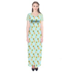 Tropical Watercolour Pineapple Pattern Short Sleeve Maxi Dress