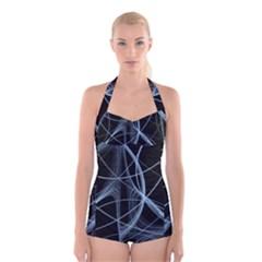 Geometric Space Boyleg Halter Swimsuit
