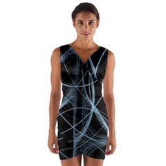 Geometric Space Wrap Front Bodycon Dress