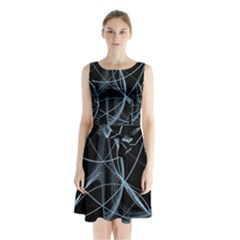 Geometric Space Sleeveless Chiffon Waist Tie Dress