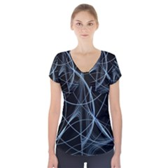 Geometric Space Short Sleeve Front Detail Top