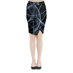 Geometric Space Midi Wrap Pencil Skirt