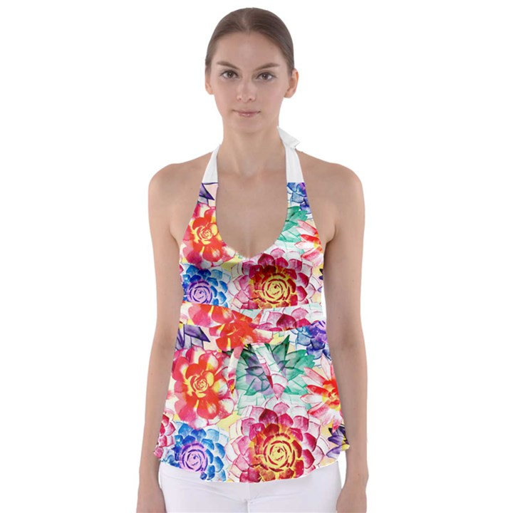 Colorful Succulents Babydoll Tankini Top