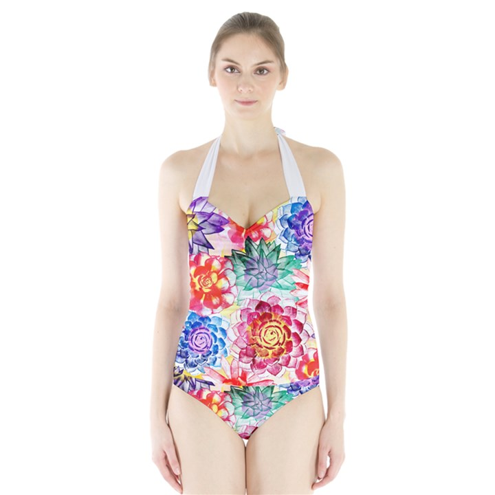 Colorful Succulents Halter Swimsuit