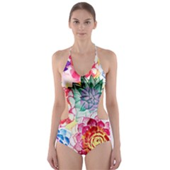 Colorful Succulents Cut Out One Piece Swimsuit