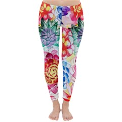 Colorful Succulents Winter Leggings