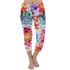 Colorful Succulents Capri Winter Leggings