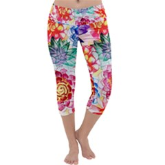 Colorful Succulents Capri Yoga Leggings