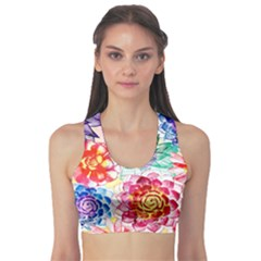 Colorful Succulents Sports Bra