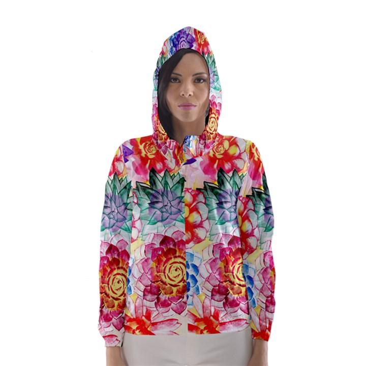 Colorful Succulents Hooded Wind Breaker (Women)