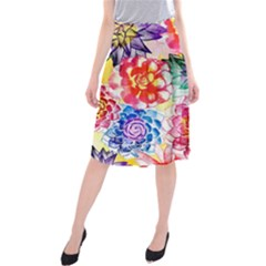 Colorful Succulents Midi Beach Skirt