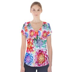 Colorful Succulents Short Sleeve Front Detail Top