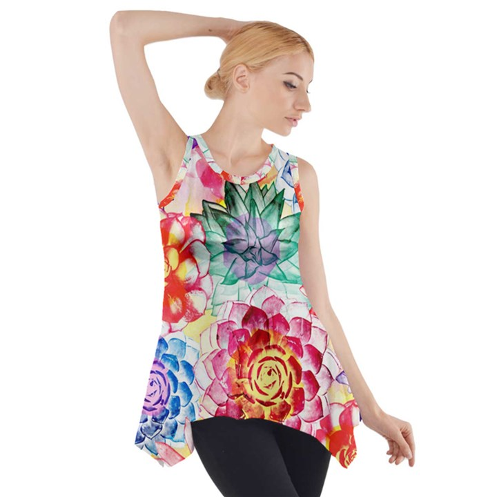 Colorful Succulents Side Drop Tank Tunic