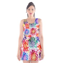 Colorful Succulents Scoop Neck Skater Dress
