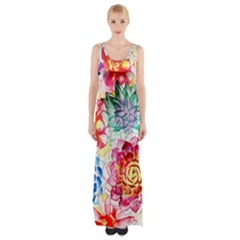 Colorful Succulents Maxi Thigh Split Dress