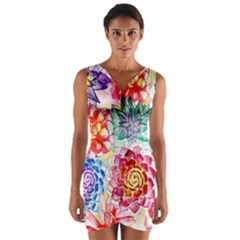 Colorful Succulents Wrap Front Bodycon Dress