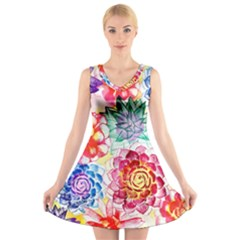 Colorful Succulents V-Neck Sleeveless Dress