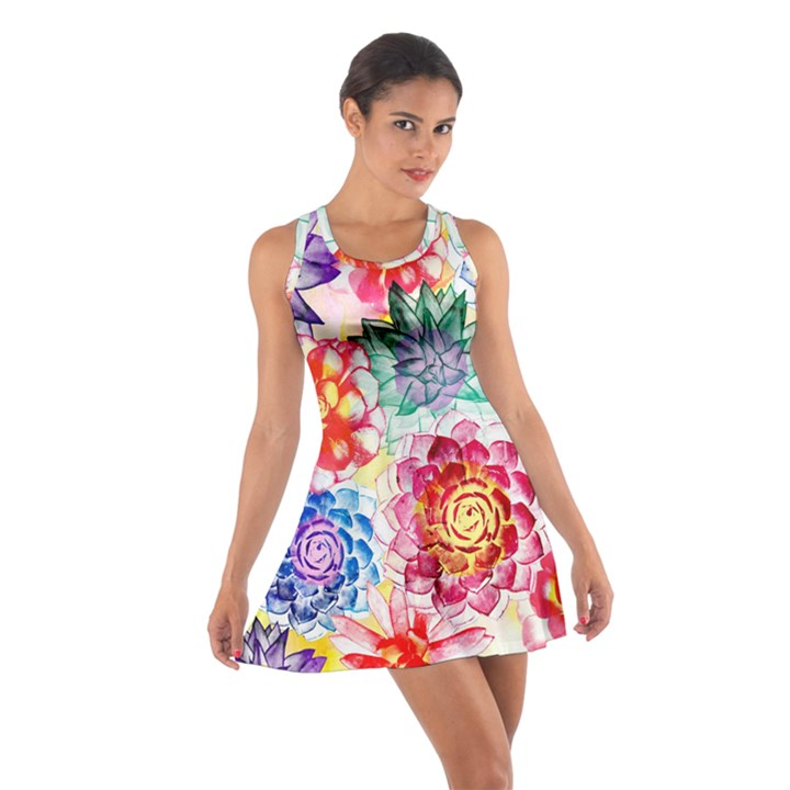 Colorful Succulents Cotton Racerback Dress