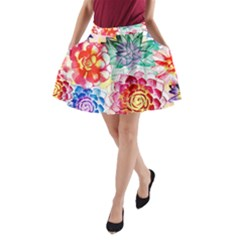 Colorful Succulents A Line Pocket Skirt