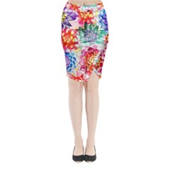 Colorful Succulents Midi Wrap Pencil Skirt