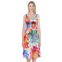 Colorful Succulents Midi Sleeveless Dress