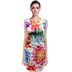 Colorful Succulents Classic Sleeveless Midi Dress