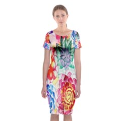 Colorful Succulents Classic Short Sleeve Midi Dress