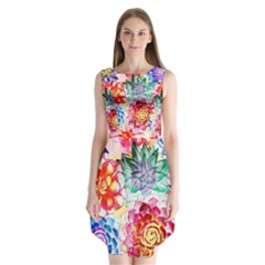Colorful Succulents Sleeveless Chiffon Dress