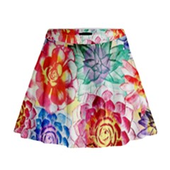 Colorful Succulents Mini Flare Skirt