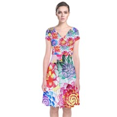 Colorful Succulents Short Sleeve Front Wrap Dress