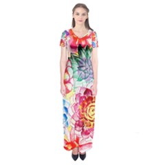 Colorful Succulents Short Sleeve Maxi Dress