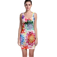 Colorful Succulents Bodycon Dress