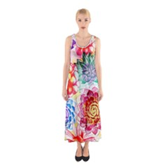 Colorful Succulents Sleeveless Maxi Dress