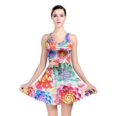 Colorful Succulents Reversible Skater Dress