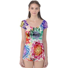 Colorful Succulents Boyleg Leotard