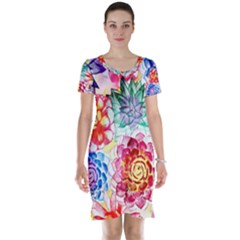 Colorful Succulents Short Sleeve Nightdress